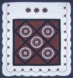 Custom Amish Quilts - Mini Compass Mariners Star Burgundy Navy Patchwork