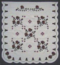Custom Amish Quilts - Rose Bouquet Applique Merlot Green