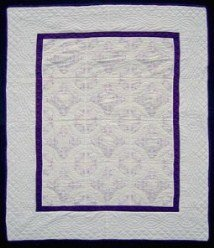 Custom Amish Quilts - Purple Embroidered Flowers Cross Stitch
