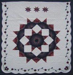 Custom Amish Quilts - Broken Lone Star Border Red Blue
