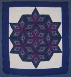 Custom Amish Quilts - Completed Fan Star Purple Navy