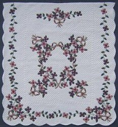 Custom Amish Quilts - Country Flower Bouquet Flower Border Applique Rose Green