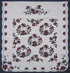 Custom Amish Quilts - Rose Wreath Border Applique Burgundy Merlot