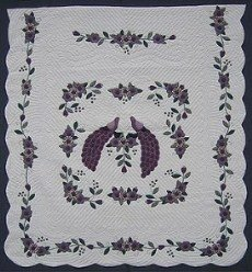 Custom Amish Quilts - Purple Peacock Flower Applique