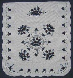 Custom Amish Quilts - Rose Sharon Lily Valley Bouquet Verse Applique Navy Burgundy Green