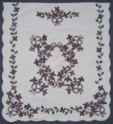 Custom Amish Quilts - Country Ribbon Flower Bouquet Border Applique