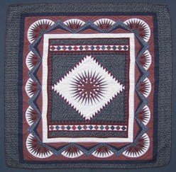 Custom Amish Quilts - Mariners Compass Framed Star Navy Burgundy