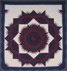 Custom Amish Quilts - Shining Completed Mariners Compass Star Navy Red
