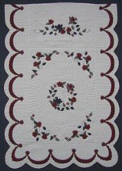 Custom Amish Quilts - Twin Rose Bouquet Burgundy Applique