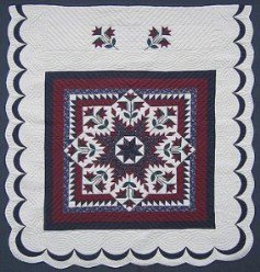 Custom Amish Quilts - Sawtooth Lily Star Burgundy Navy Patchwork