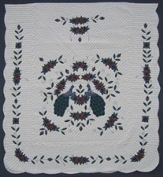 Custom Amish Quilts - Peacock Flower Garden Applique Border