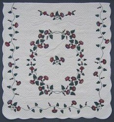 Custom Amish Quilts - Burgundy Morning Glory Applique Green