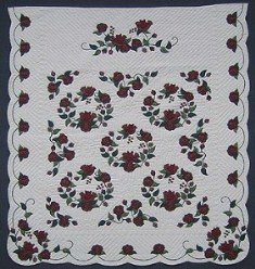 Custom Amish Quilts - Burgundy Rose Wreath Border Applique