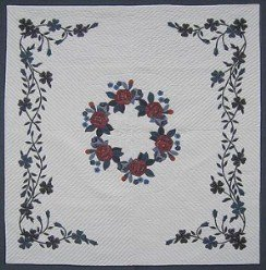 Custom Amish Quilts - Rose Bouquet Flower Applique Border Navy Green