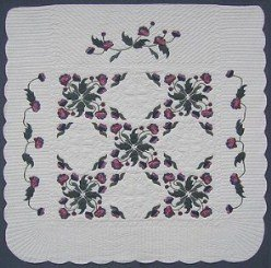Custom Amish Quilts - Windy Rose Garden Burgundy Green Applique
