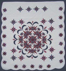 Custom Amish Quilts - Exploding Mariners Compass Star Border Patchwork