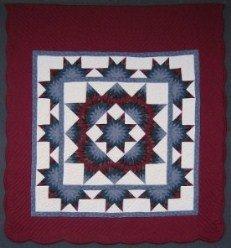 Custom Amish Quilts - Framed Star Stars Red Blue