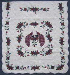 Custom Amish Quilts - Burgundy Peacock Applique