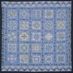 Custom Amish Quilts - Blue Sampler Patchwork