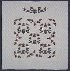 Custom Amish Quilts - Christmas Rose Burgundy Green Applique