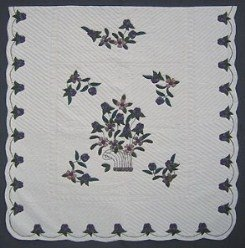 Custom Amish Quilts - Navy Flower Basket Border Applique