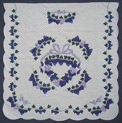 Custom Amish Quilts - Gallery Grapes Blue Purple Applique