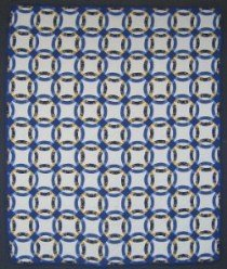 Custom Amish Quilts - Wedding Ring Patchwork Blue Yellow