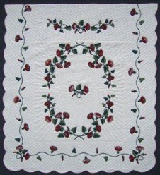 Custom Amish Quilts - Maroon Morning Glory Applique
