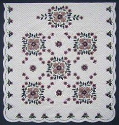 Custom Amish Quilts - Dusty Rose Bouquet Applique