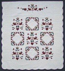 Custom Amish Quilts - Dutch Rose Bird Bride Quilt Applique