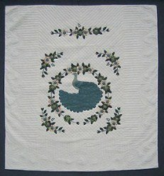 Custom Amish Quilts - Lone Royal Peacock Applique