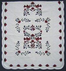 Custom Amish Quilts - Dove Bird Wedding Quilt Applique Burgundy