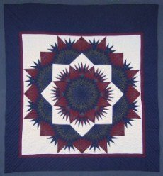 Custom Amish Quilts - Mariners Glowing Star Navy