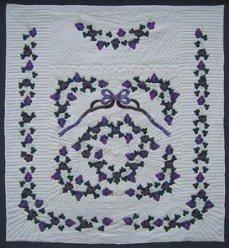 Custom Amish Quilts - Vineyard Grapes Purple Applique