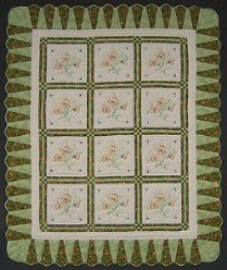 Custom Amish Quilts - Hand Embroidered Green Patchwork Certified