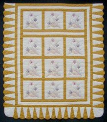 Custom Amish Quilts - Hand Embroidered Flower Basket Gold Certified