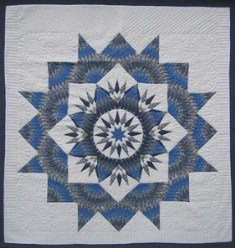 Custom Amish Quilts - Grey Mariners Compass Star Patchwork Blue