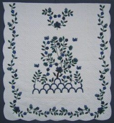Custom Amish Quilts - Tree of Life Applique Blue Green