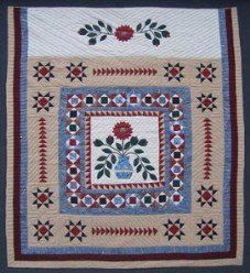 Custom Amish Quilts - Patchwork Flower Bouquet Applique Star