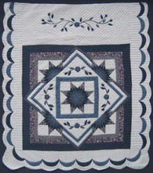 Custom Amish Quilts - Lone Star Flowers in Star Applique Patchwork Border