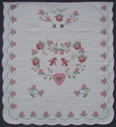 Custom Amish Quilts - Pink Country Bride Applique Sage