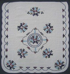 Custom Amish Quilts - Blue Navy Rose Sharon Verse Applique Embroider