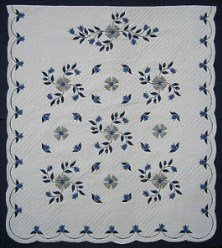 Custom Amish Quilts - Windy Flower Blue Sage Applique