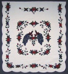Custom Amish Quilts - Peacock in Blooms Applique Blue Red