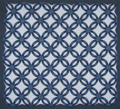 Custom Amish Quilts - Blue Navy White Wedding Ring Patchwork