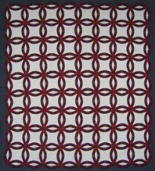 Custom Amish Quilts - Burgundy White Wedding Ring Patchwork