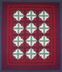 Custom Amish Quilts - Burgundy Red Log Cabin Green Patchwork