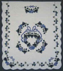 Custom Amish Quilts - Clusters Grapes Blue Plum Applique Border