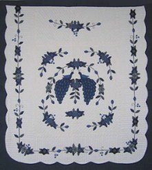 Custom Amish Quilts - Navy Peacock Flower Garden Applique