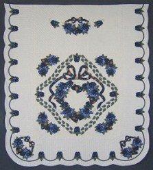 Custom Amish Quilts - Blue Green Gold Rose Wreath Applique Border